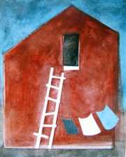 Red Barn with Laundry